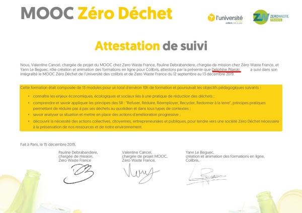 Attestation Mooc des Colibris zero dechet Pilarski0_LI